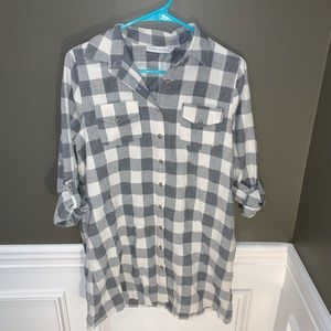 Paper Crane Flannel Gray and White Shirtdress
